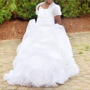 Flower girl dress w/silver gem details and accent